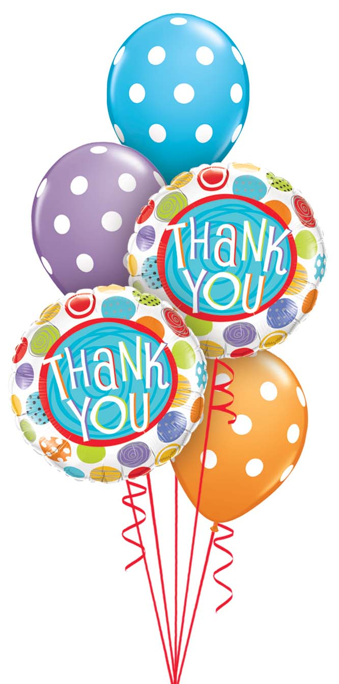 Thank You With Polka Dots Balloon Bouquet